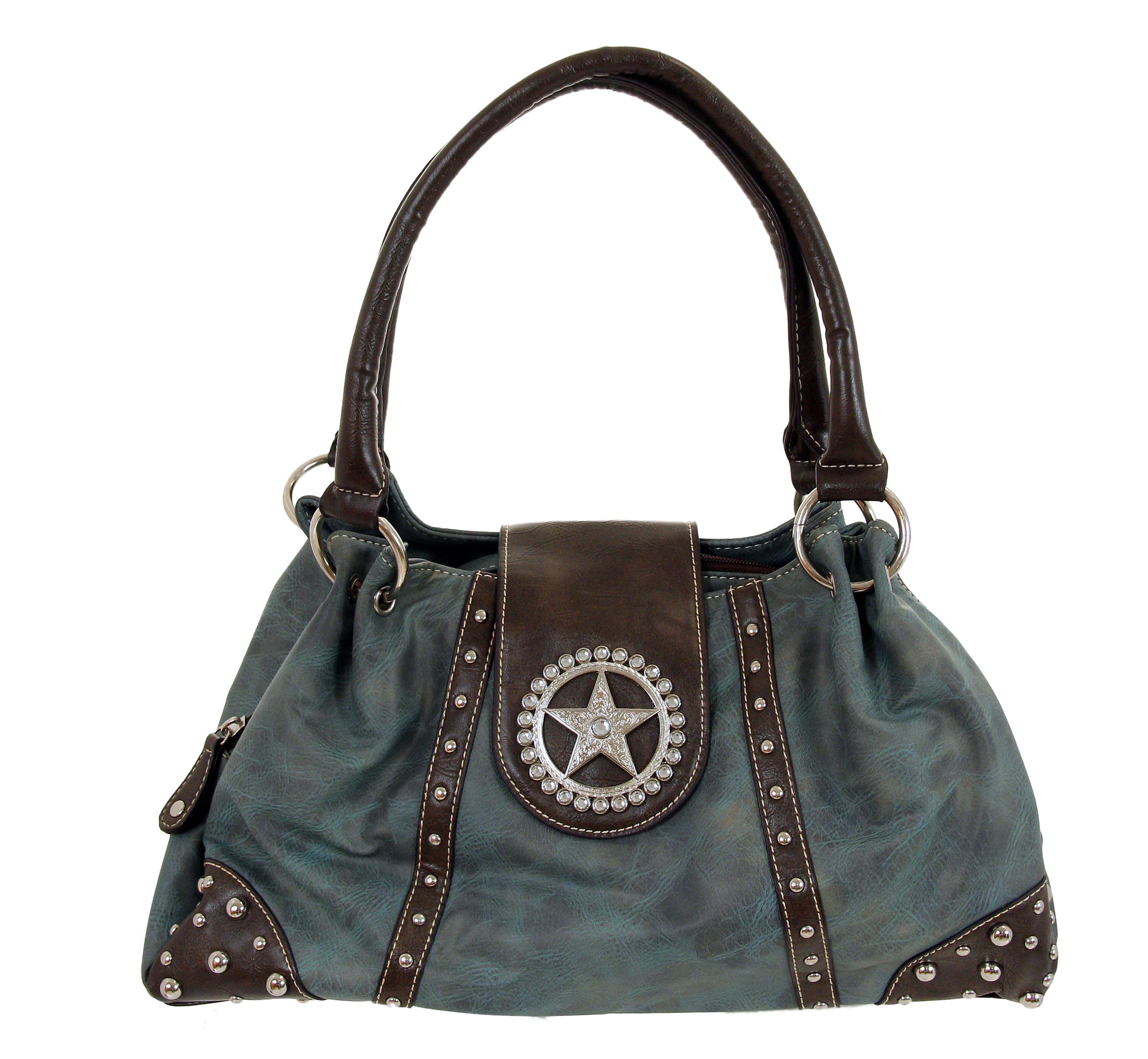 Rhinestone   Handbag   Leather   Star   Faux   Blue