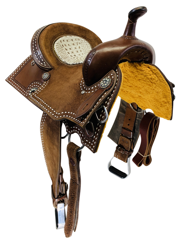 14 Inch Used Alamo Custom Buckstitch Barrel Saddle Custom