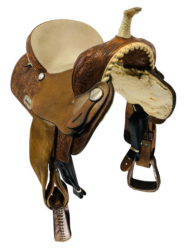 14 Inch Used Frontier Saddlery Barrel Saddle Custom Bs